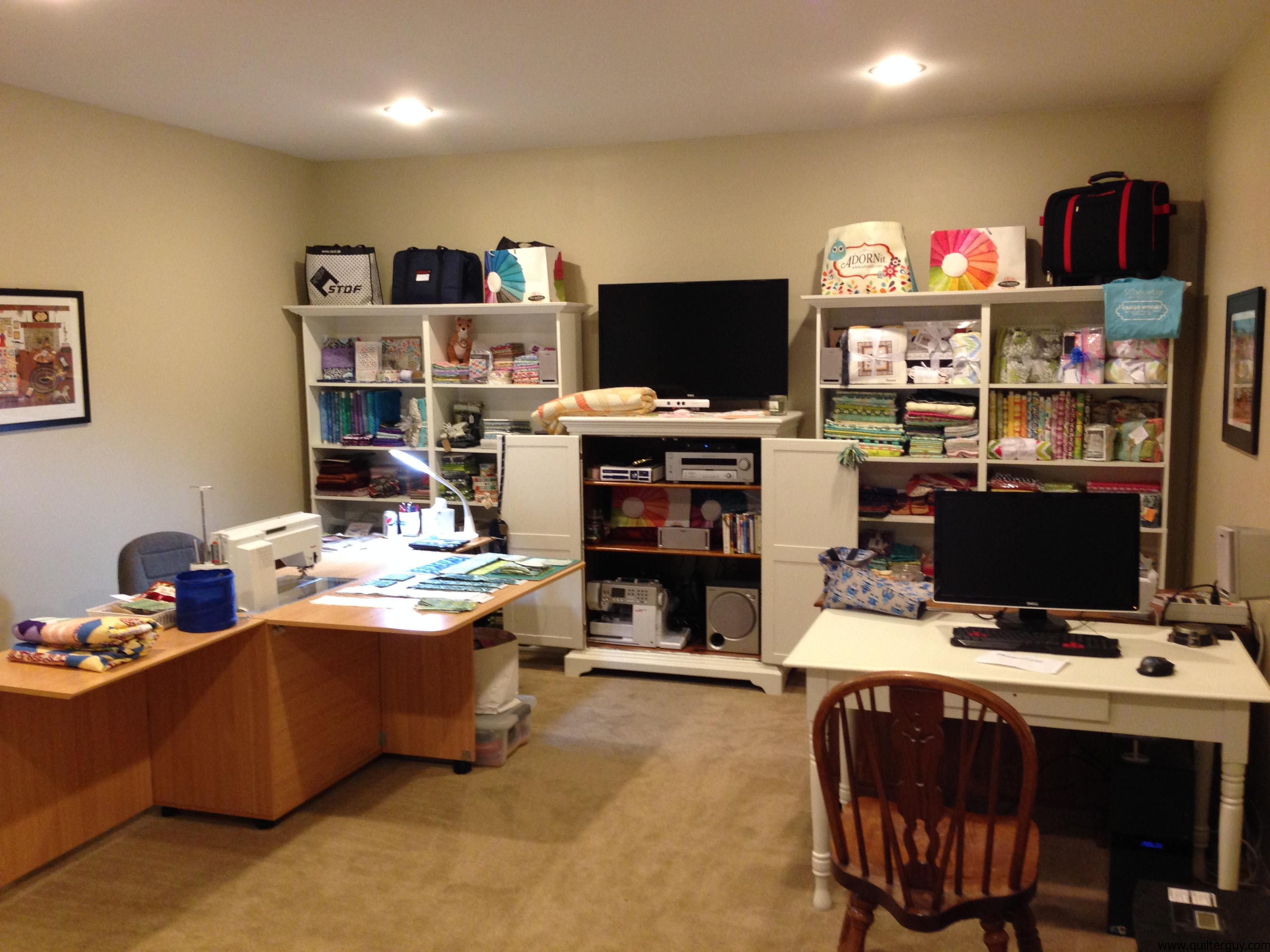 My quilting studio aka the sewing room quilter guy for Living room quilt