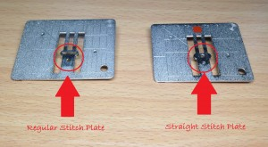 Comparison between your regular stitch plate and single stitch plate.
